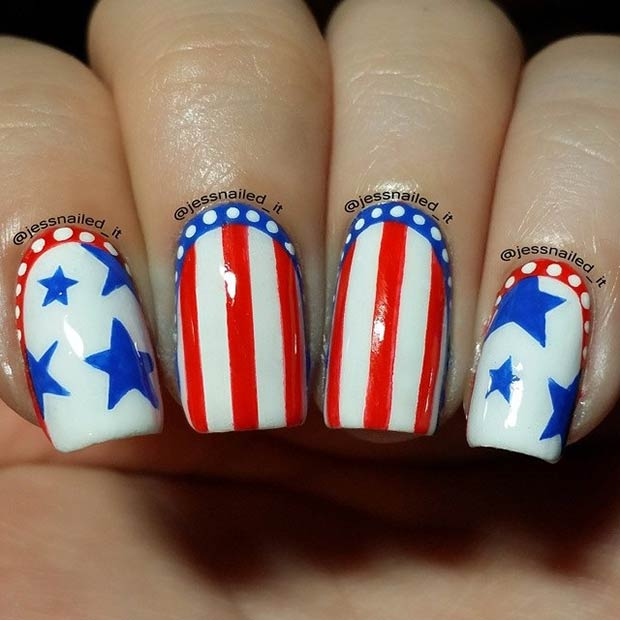 Striped Nail Art Design for the 4th of July