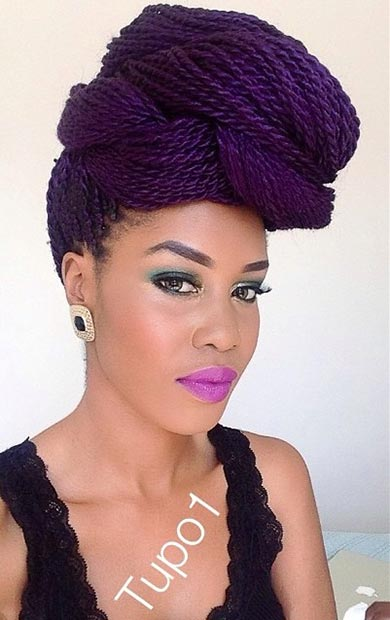 Purple Senegalese Twists Updo