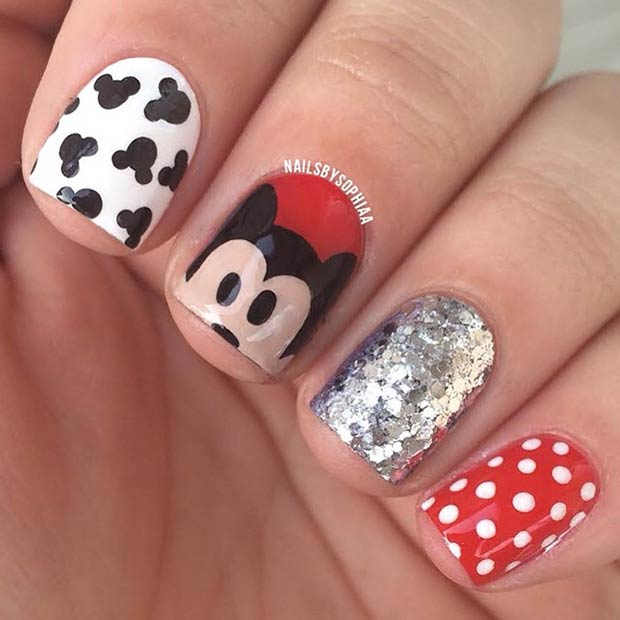 Mickey Mouse Nail Art Design - 21 Super Cute Disney Nail Art Designs StayGlam