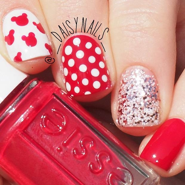 Red and White Nail Design. Instagram / _daisynails_ - 21 Super Cute Disney Nail Art Designs StayGlam