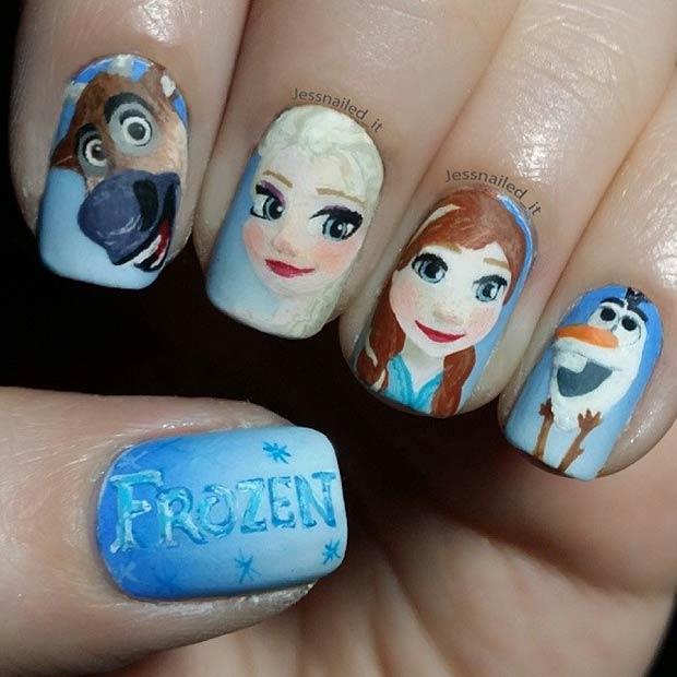 Frozen Nail Art Design