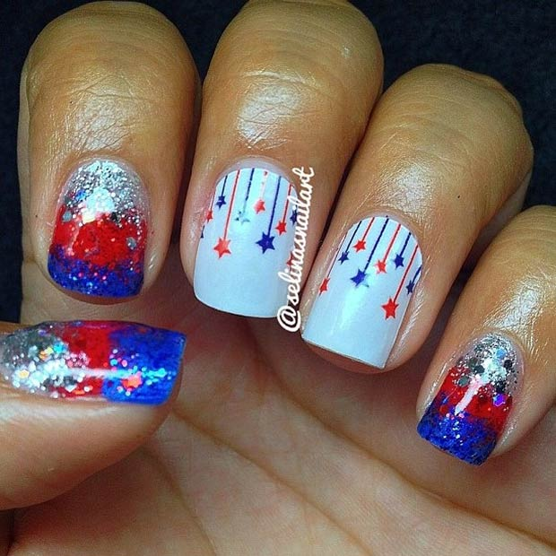 4th of July Glitter Nails