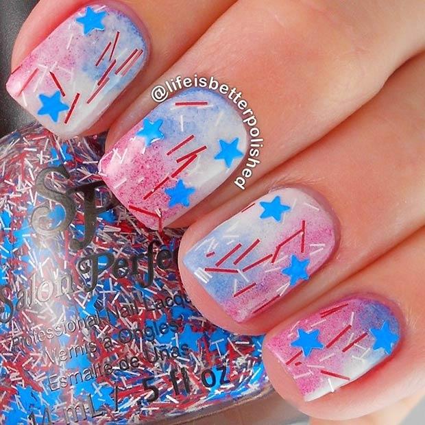 Fireworks and Stars Nail Art Design