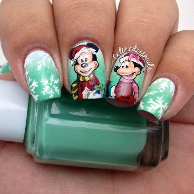 Mickey & Minnie Winter Nails