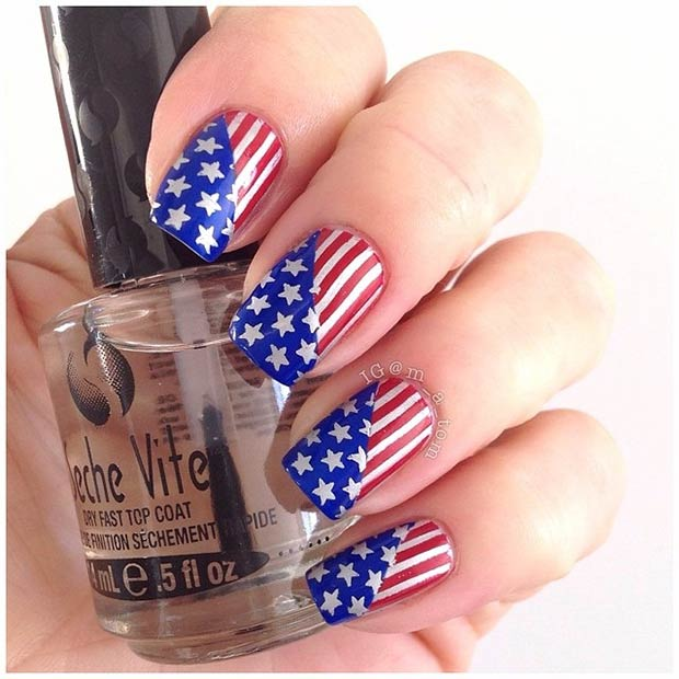 American Flag Nail Art. Instagram / m_a_tom - 29 Fantastic Fourth Of July Nail Design Ideas StayGlam