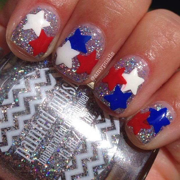 29 fantastic fourth of july nail design ideas stayglam cute stars glitter nail design instagram amvpnails prinsesfo Choice Image