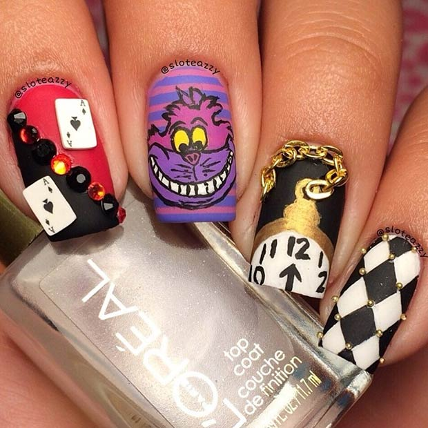 Alice in Wonderland Nails - 21 Super Cute Disney Nail Art Designs StayGlam