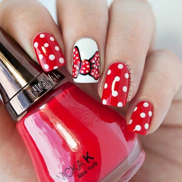 Cute Minnie Mouse Nails - 21 Super Cute Disney Nail Art Designs StayGlam