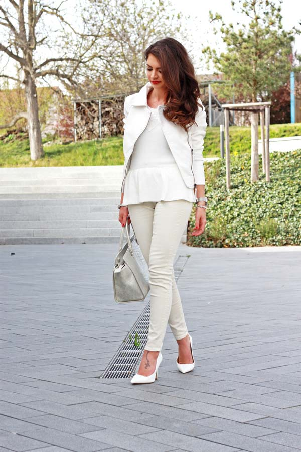 All White Outfit with Silver Details