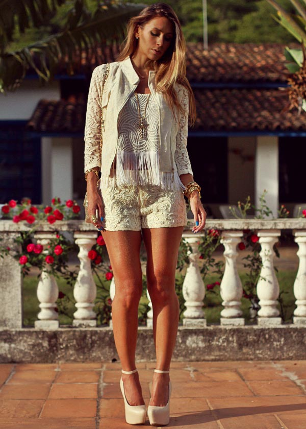 All White Lace Outfit