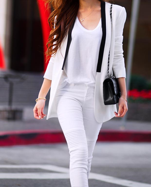 All White Outfit with a pop of Black