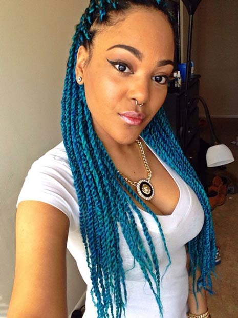 Blue Senegalese Twists