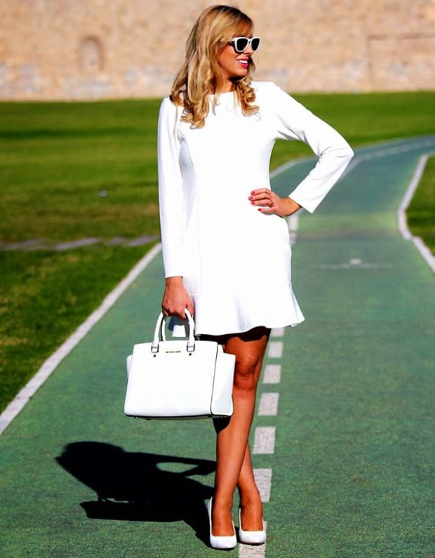 White Dress and Accessories Outfit Idea