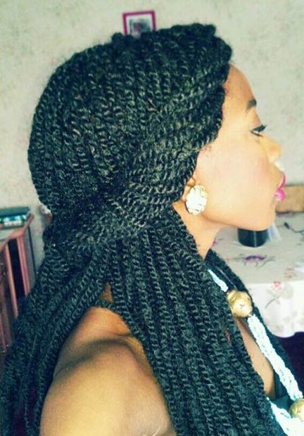 Twisted Senegalese Twist Half Updo