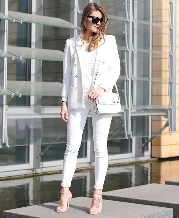 White Blazer and White Jeans Outfit