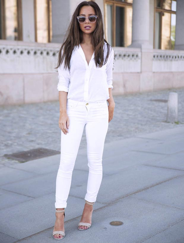White Jeans and White Blouse Outfit