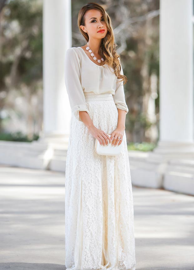 All White Maxi Skirt and Blouse Outfit