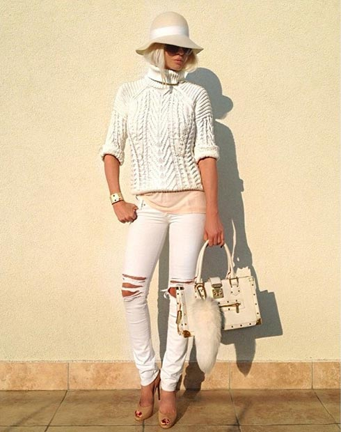 White Sweater and White Jeans Outfit