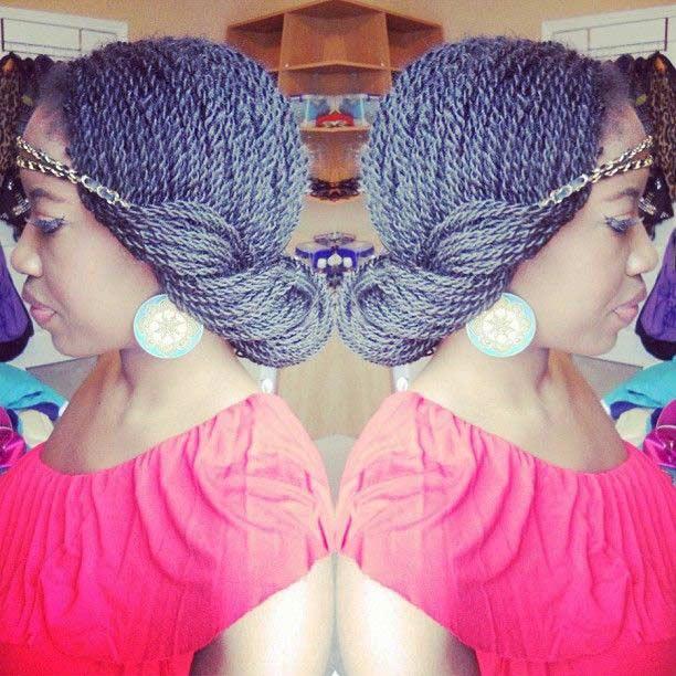 Senegalese Twist Headband Updo