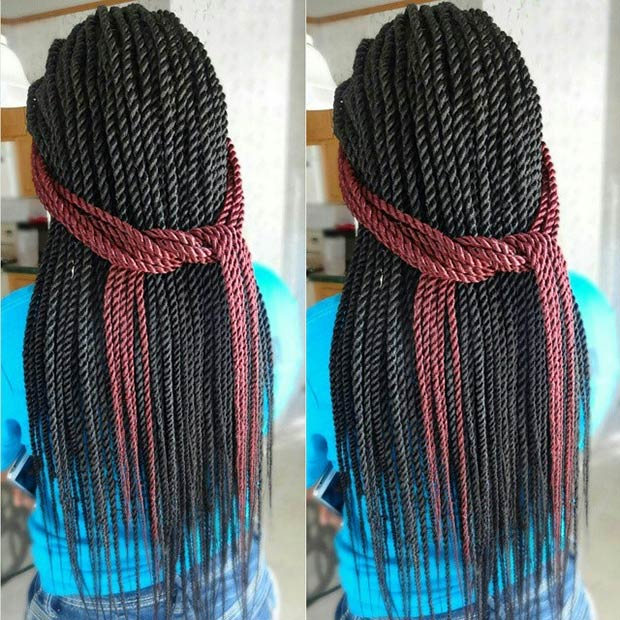 Senegalese Twists with a Pop of  Red Color