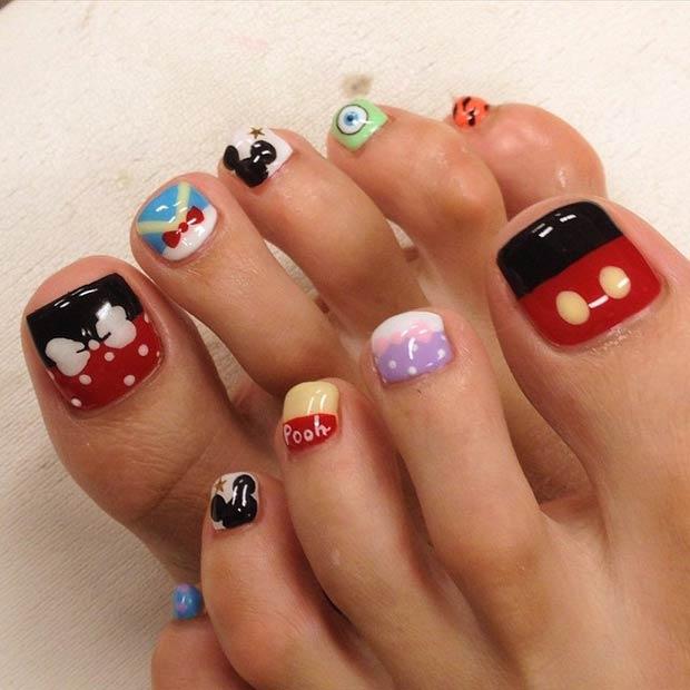 Toenail Disney Design. Instagram / cozy_nail - 21 Super Cute Disney Nail Art Designs Page 2 Of 2 StayGlam