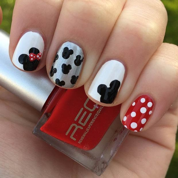 Simple Mickey Minnie Nail Design - 21 Super Cute Disney Nail Art Designs StayGlam