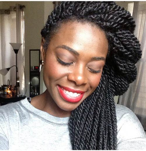 Twisted Half-up, Half-Down Senegalese Twists