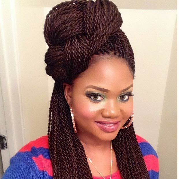 Braided Senegalese Twists Half Updo