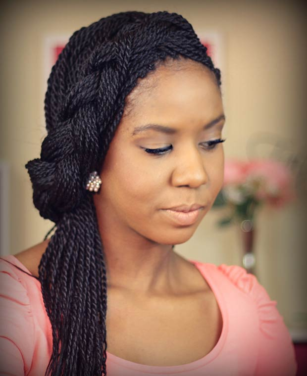 Senegalese Twists into a French Side Braid