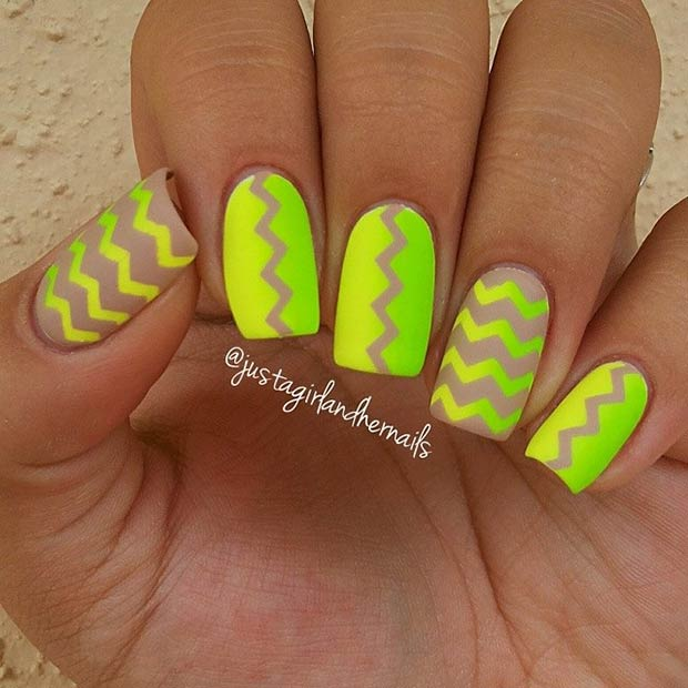 Neon Lime Green Nails. Instagram / justagirlandhernails - 30 Eye-Catching Summer Nail Art Designs Page 3 Of 3 StayGlam
