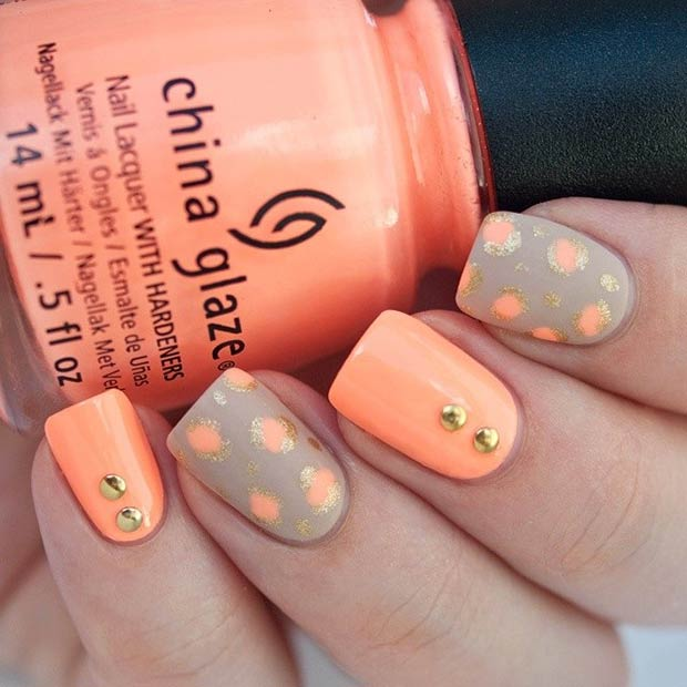 Neon Peachy and Gold Nails - 30 Eye-Catching Summer Nail Art Designs Page 3 Of 3 StayGlam