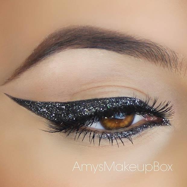 Black &Silver Glitter Eyeliner