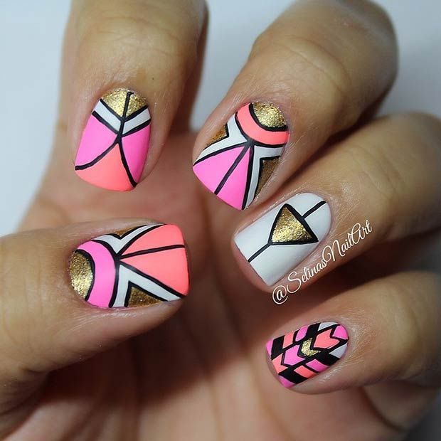 Gold and Neon Tribal Nails