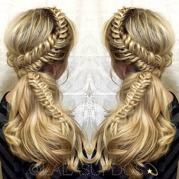 Fishtail Side Swept Half Updo