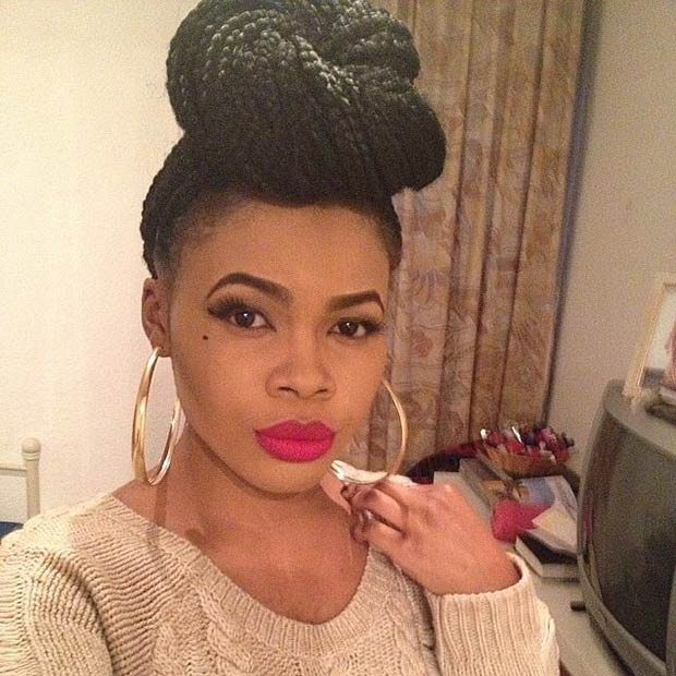 Twisted Box Braids High Bun