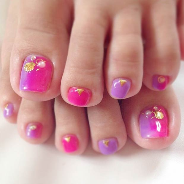 Pink and Purple Toe Nail Design