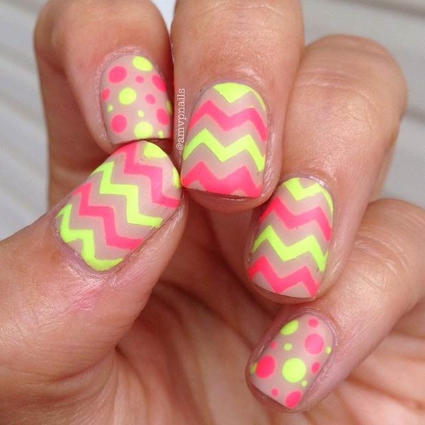Neon Chevron and Polka Dots Nails