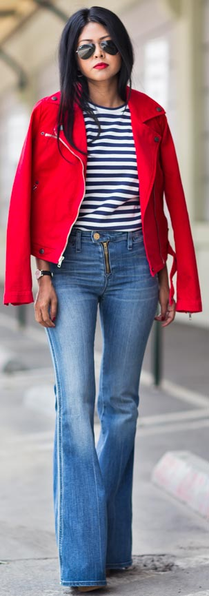 Striped Top + Red Jacket