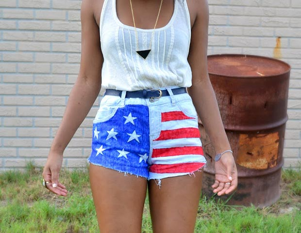 DIY American Flag Shorts + White Top