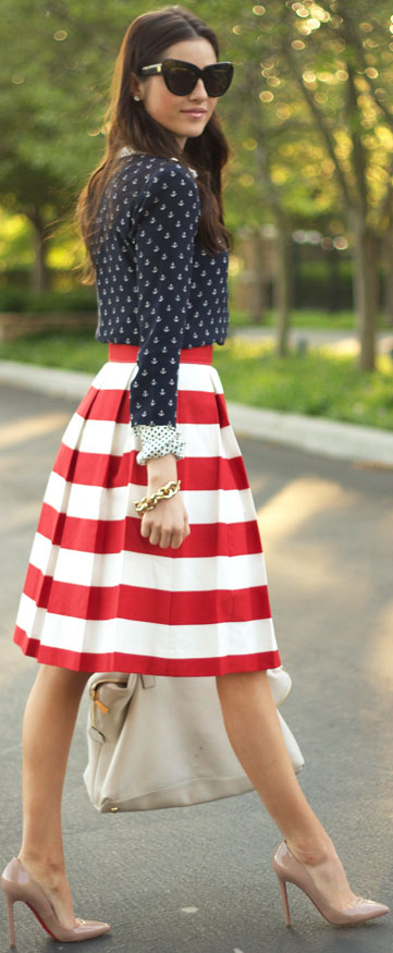 Red & White Striped Midi Skirt
