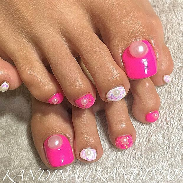 Pink Toe Nails With Pearls