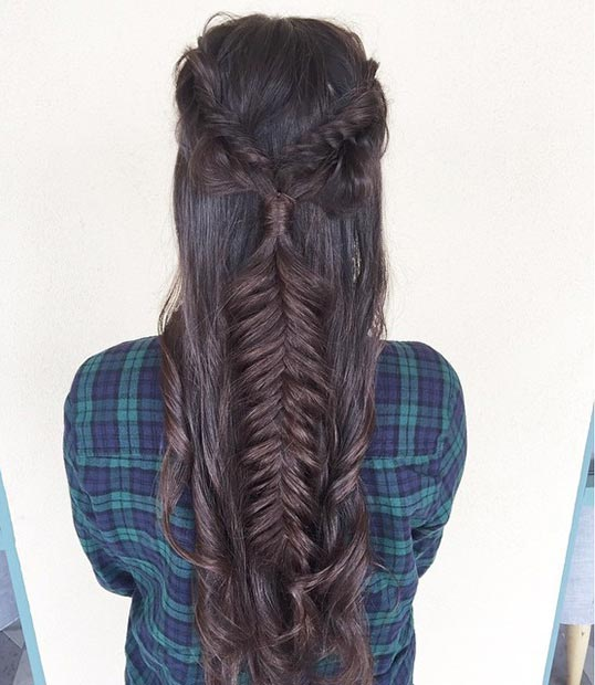 Fishtail Braid Half Updo