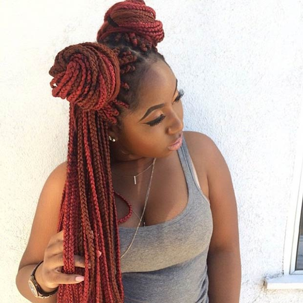 Long Red Box Braids