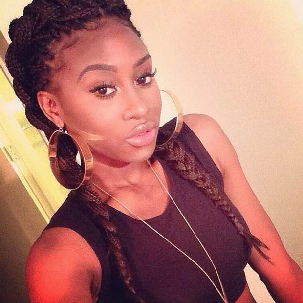 Box Braids into Two French Braids