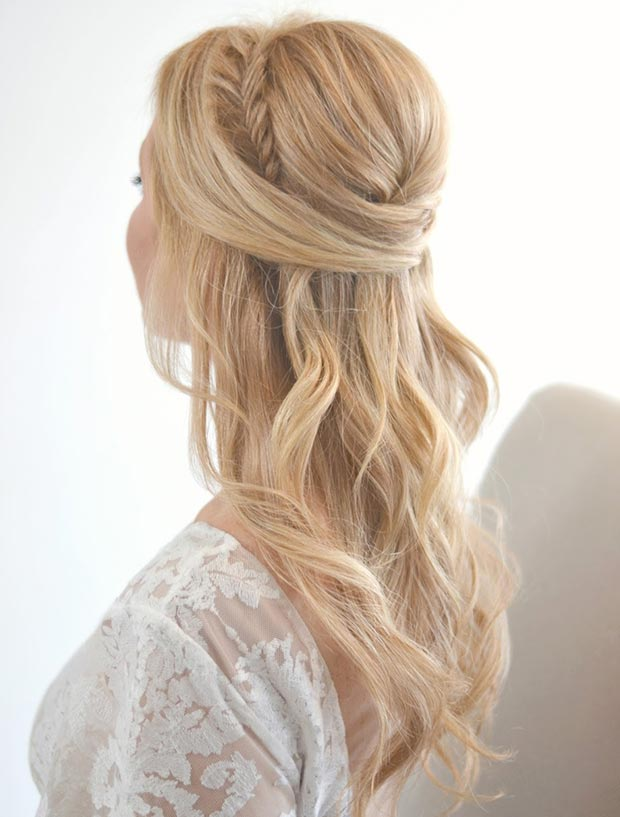 Fishtail Braid + Poof Half Updo