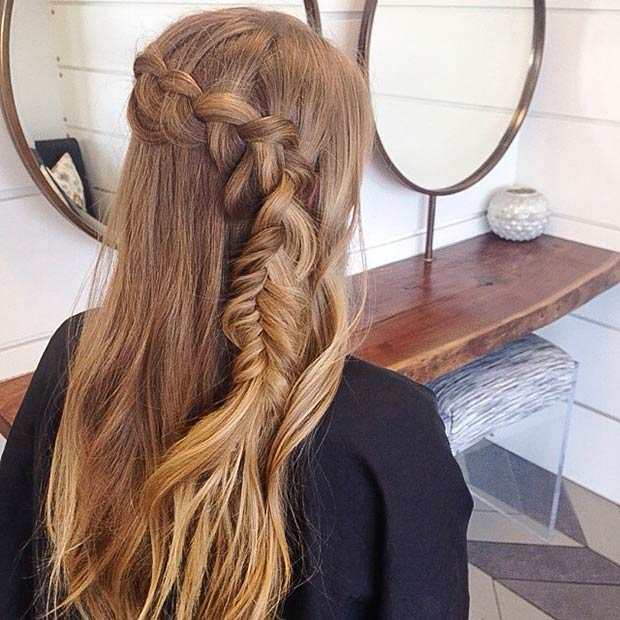 French and Fishtail Braid Half Updo