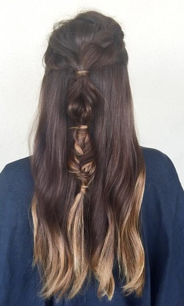 Braided Half Up, Half Down Ponytail