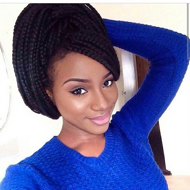 Box Braids Updo with Side Swept Bangs