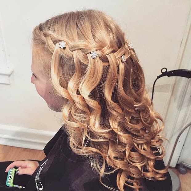 Waterfall Braid + Curls