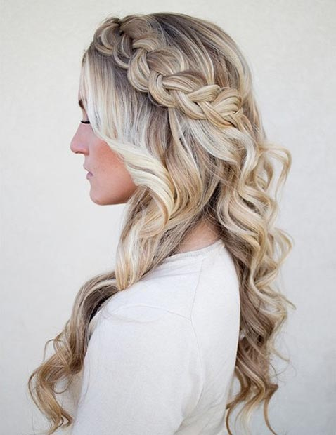 Side Swept Dutch Braid with Curls